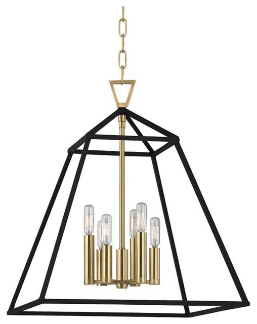 Hudson Valley Lighting Webster Aged Brass Pendant Light W/ 6 Light 60W For Rockland 4 Light Geometric Pendants (View 6 of 25)