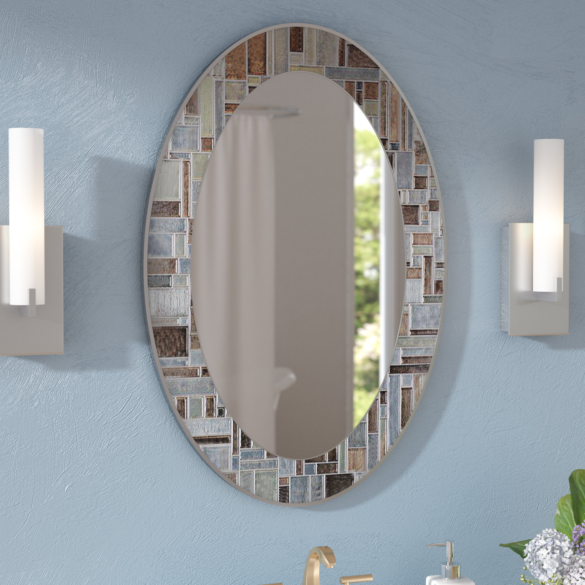 Hussain Oval Deep Engravings Accent Wall Mirror For Hussain Tile Accent Wall Mirrors (Image 12 of 20)