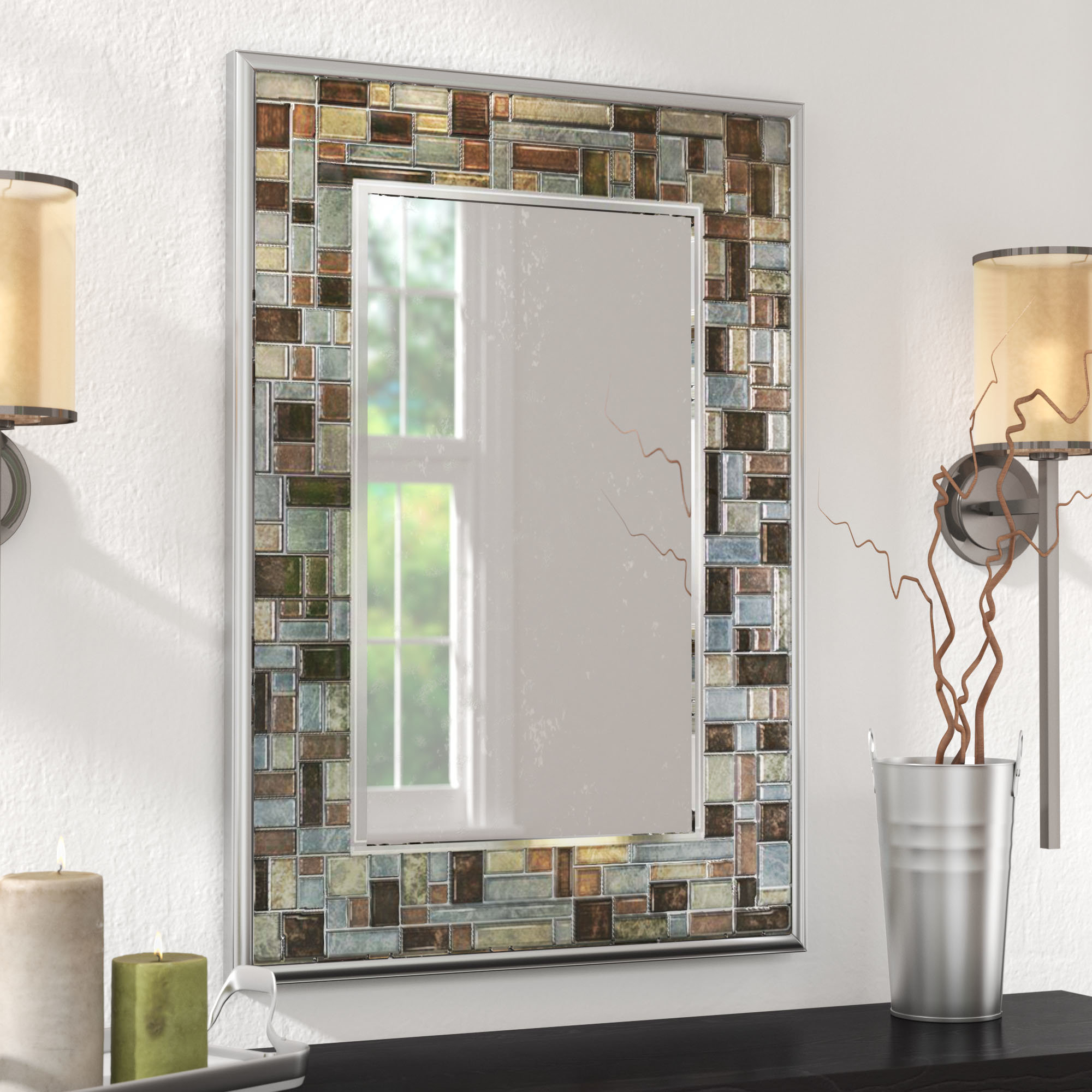 Hussain Tile Accent Wall Mirror Pertaining To Accent Wall Mirrors (Image 13 of 20)