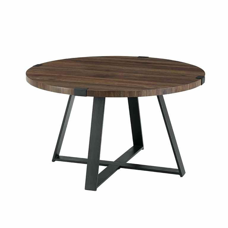 Image 0 Industrial Wood Coffee Table Furniture Cart Round Inside Montgomery Industrial Reclaimed Wood Coffee Tables With Casters (View 29 of 50)