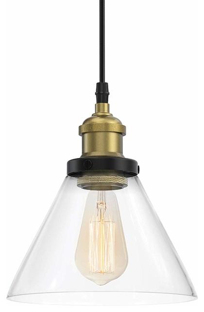 Industrial Pendant Light, Clear Glass Shade Vintage Style Hanging Light Fixture Inside Novogratz Vintage 5 Light Kitchen Island Bulb Pendants (View 21 of 25)
