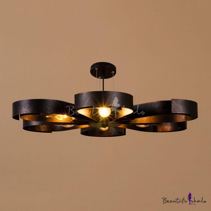 Industrial Semi Flush Ceiling Light In Petal Shape Shade, 6 For Sherri 6 Light Chandeliers (View 20 of 20)