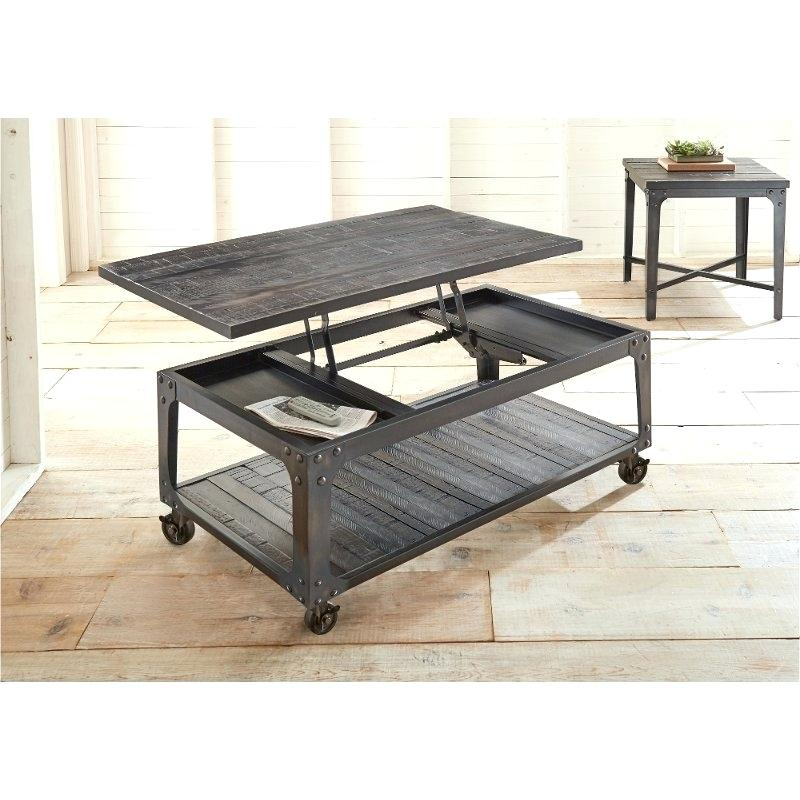 Industrial Wood Coffee Table Civic Center Era Furniture With Regard To Montgomery Industrial Reclaimed Wood Coffee Tables With Casters (View 50 of 50)