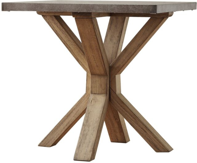 Industrial Zinc Top Weathered Oak Trestle End Table With Aberdeen Industrial Zinc Top Weathered Oak Trestle Coffee Tables (Image 3 of 25)