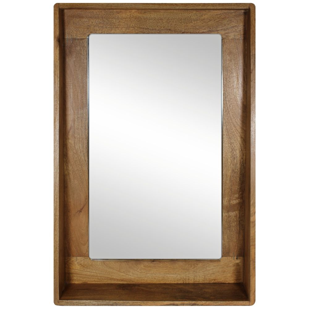 """Ingrid Natural Wood 24"""" X36"""" Shelf Frame Wall Mirror – Style Inside Rena Accent Mirrors (Image 11 of 20)"""