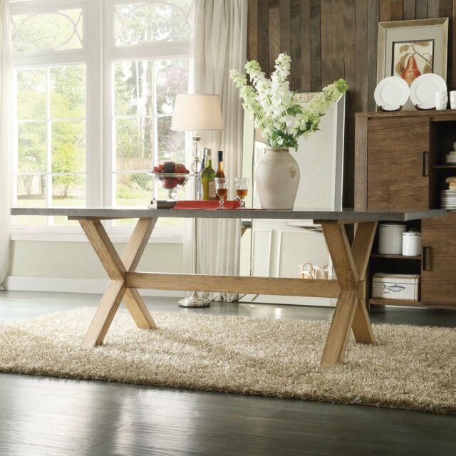 Inspire Q Aberdeen Industrial Zinc Top Weathered Oak Trestle Dining Table With Aberdeen Industrial Zinc Top Weathered Oak Trestle Coffee Tables (Image 5 of 25)