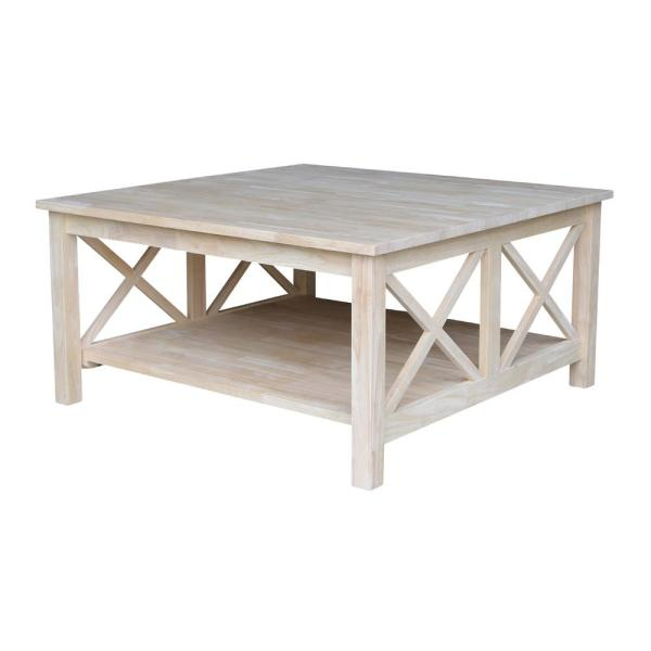 Featured Image of Hampton Unfinished Solid Parawood Square Coffee Tables