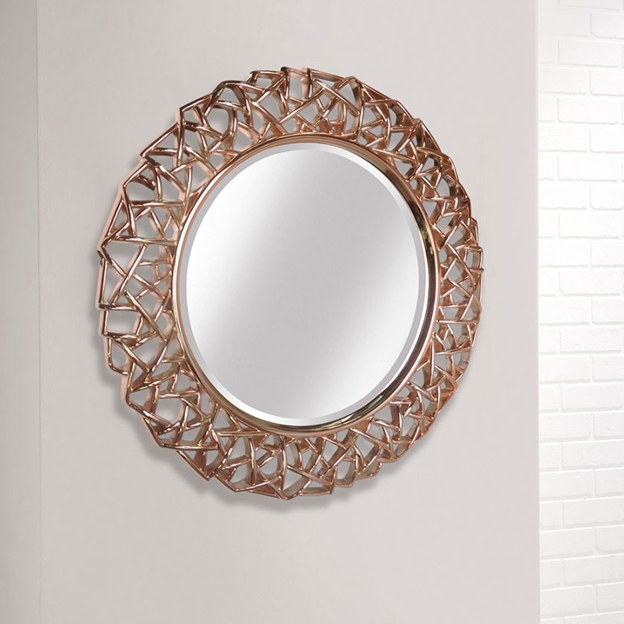 Intricate Rose Gold Round Modern Wall Mirror Throughout Wall Mirrors (Image 11 of 20)
