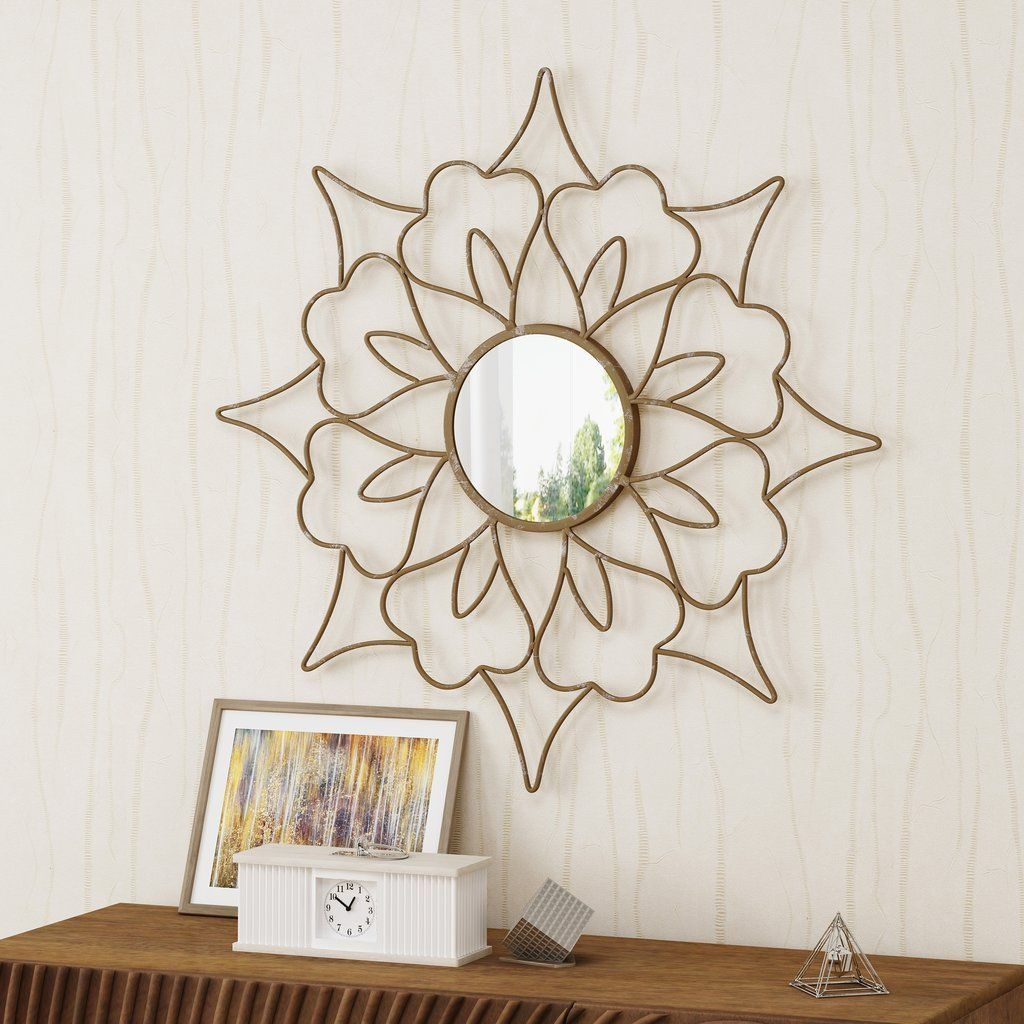 Iron Flower Mirror | Bedroom Decor | Lighted Wall Mirror Pertaining To Bruckdale Decorative Flower Accent Mirrors (View 5 of 20)