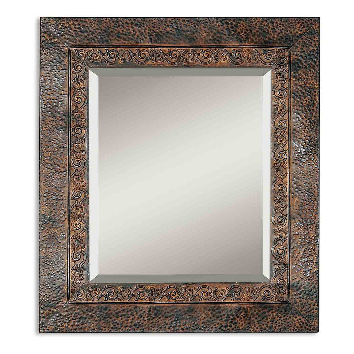 Jackson Rustic Metal Mirror | Who Put Me Up To This? | Brown Inside Kristy Rectangular Beveled Vanity Mirrors In Distressed (Image 13 of 20)