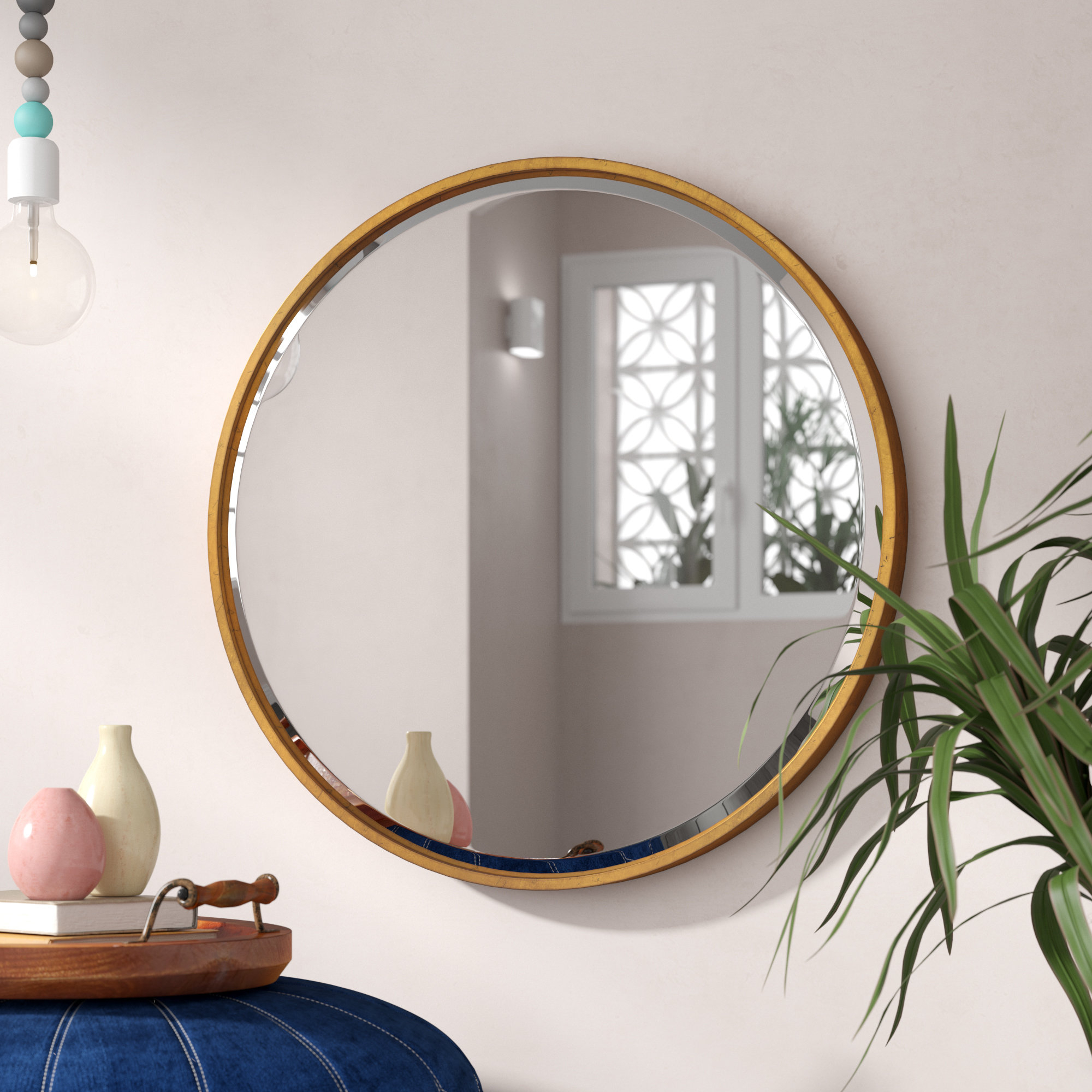 Jamie Modern & Contemporary Beveled Wall Mirror Regarding Mahanoy Modern And Contemporary Distressed Accent Mirrors (Image 9 of 20)