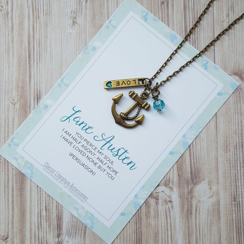 Jane Austen Persuasion Necklace, Persuasion Charm Necklace, Anchor  Necklace, Jane Austen Gift, Love Sailing Sea Charm Necklace, Janeite Gift Throughout Dilley 1 Light Unique / Statement Geometric Pendants (Image 16 of 25)