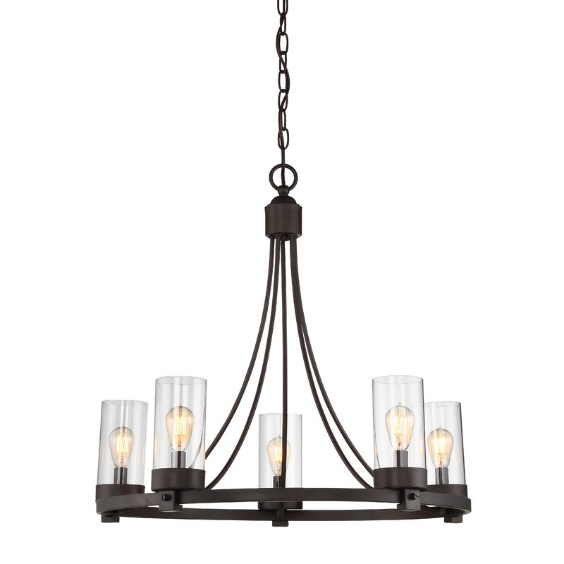 Featured Image of Janette 5 Light Wagon Wheel Chandeliers