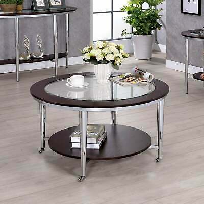 Jena Contemporary Chrome Coffee Tablefoa Chrome, Dark Cherry N/a 889435882494 | Ebay Pertaining To Cohler Traditional Brown Cherry Oval Coffee Tables (View 7 of 25)