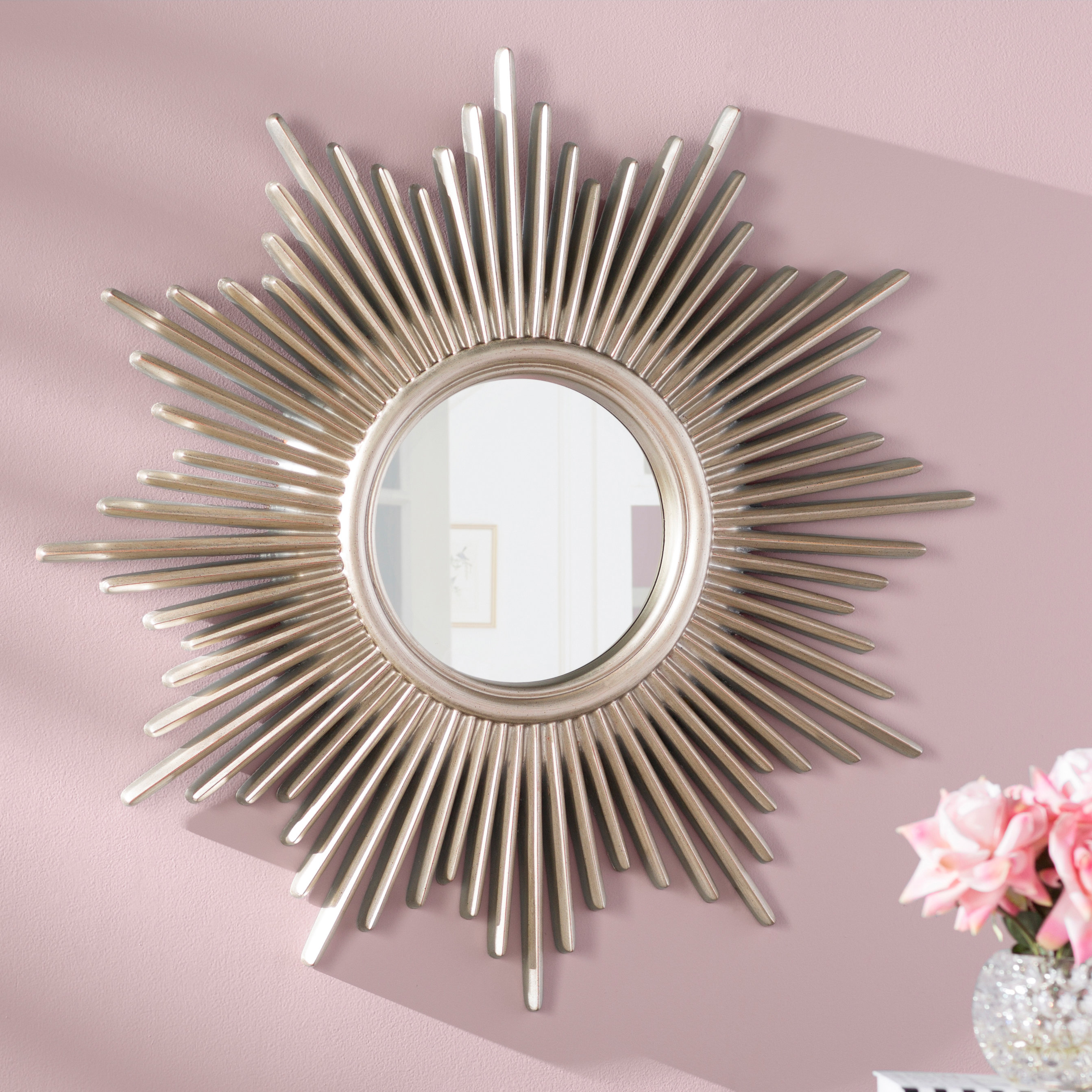 Josephson Starburst Glam Beveled Accent Wall Mirror Intended For Josephson Starburst Glam Beveled Accent Wall Mirrors (Image 9 of 20)