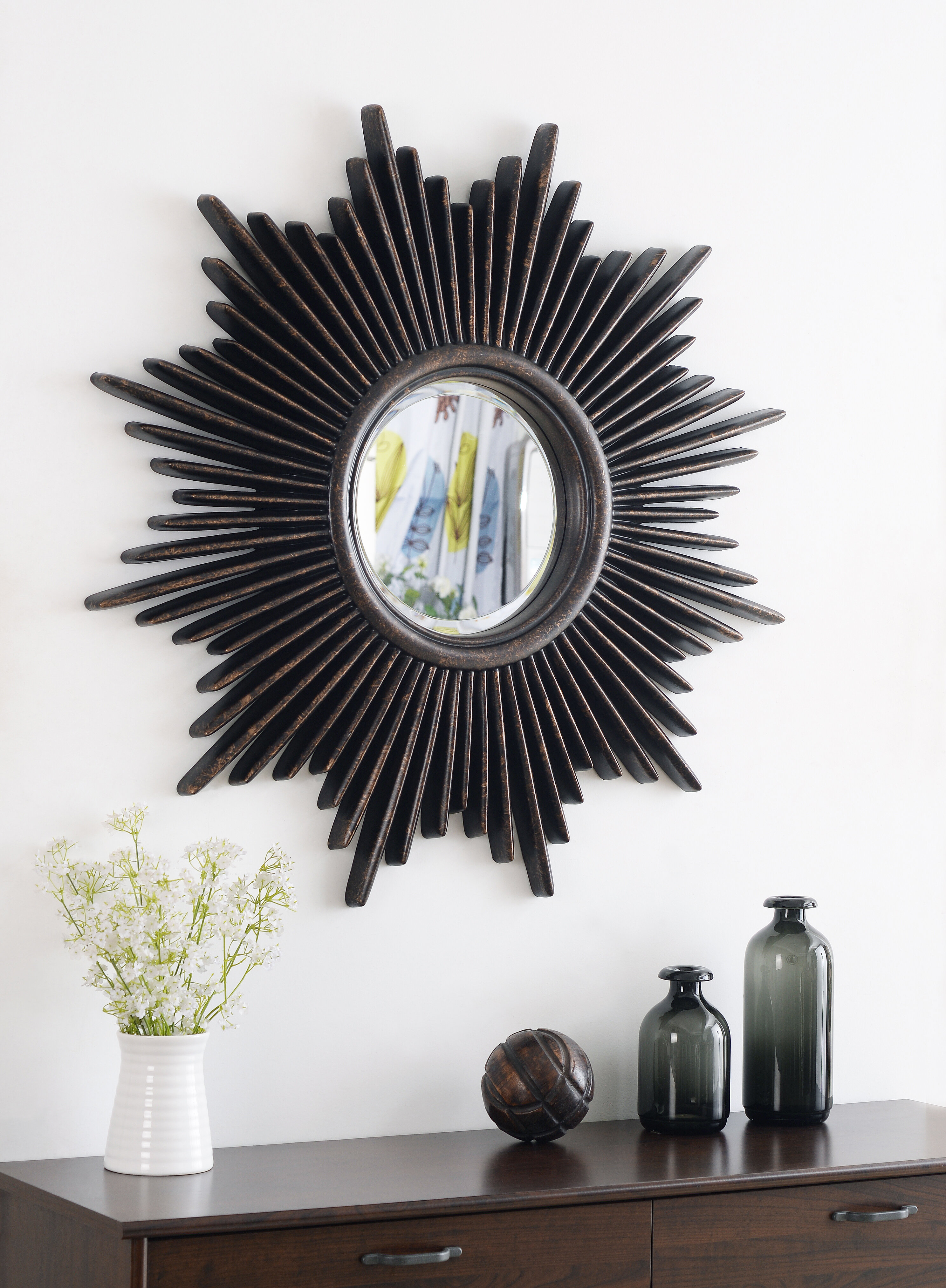 Josephson Starburst Glam Beveled Accent Wall Mirror Throughout Harbert Modern And Contemporary Distressed Accent Mirrors (Photo 8 of 20)