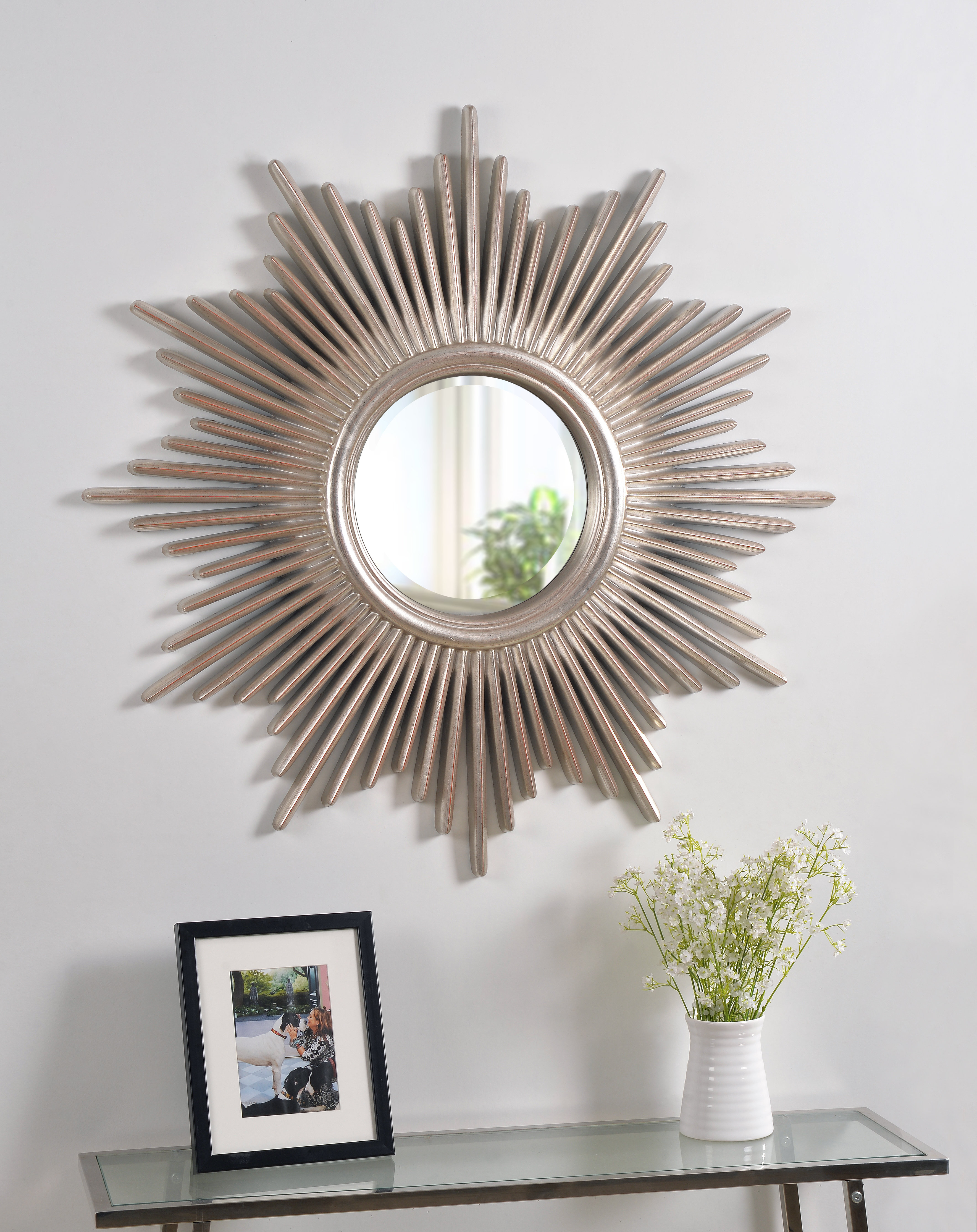 Josephson Starburst Glam Beveled Accent Wall Mirror With Regard To Harbert Modern And Contemporary Distressed Accent Mirrors (Image 10 of 20)