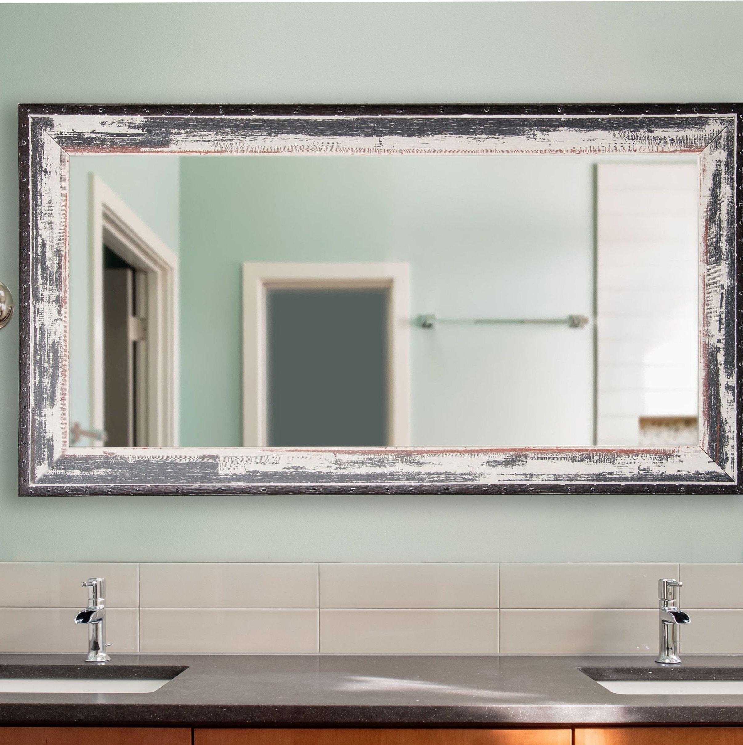 Junipero Modern & Contemporary Bathroom/vanity Mirror Within Landover Rustic Distressed Bathroom/vanity Mirrors (Image 10 of 20)