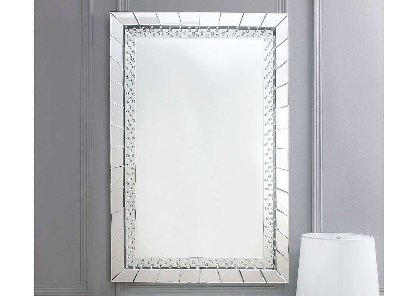 Just Furniture Nysa Mirror Tile Frame Accent Mirror Inside Silver Frame Accent Mirrors (View 10 of 20)