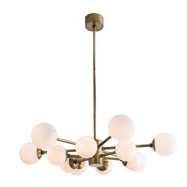 Karrington 12 Light Sputnik Opal Brass Chandelier For Vroman 12 Light Sputnik Chandeliers (View 10 of 20)