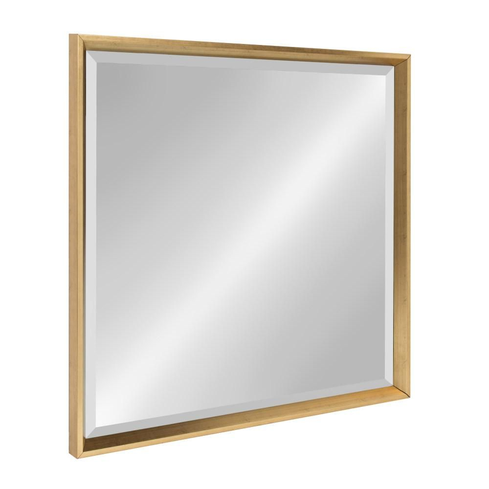 Kate And Laurel Calter Square Gold Accent Wall Mirror For Dalessio Wide Tall Full Length Mirrors (Photo 12 of 20)