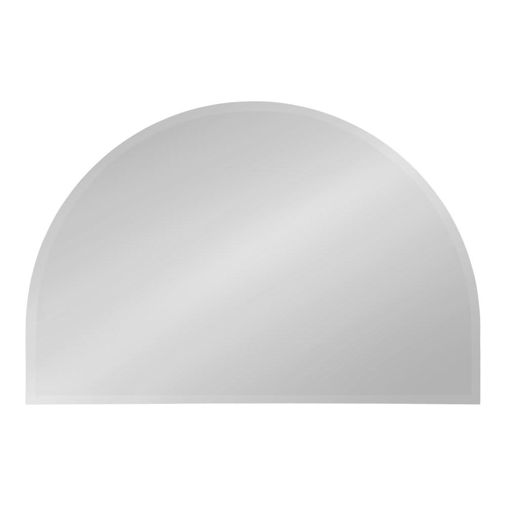 Kate And Laurel Reign Half Circle Silver Wall Mirror 214806 Throughout Reign Frameless Oval Scalloped Beveled Wall Mirrors (Image 10 of 20)