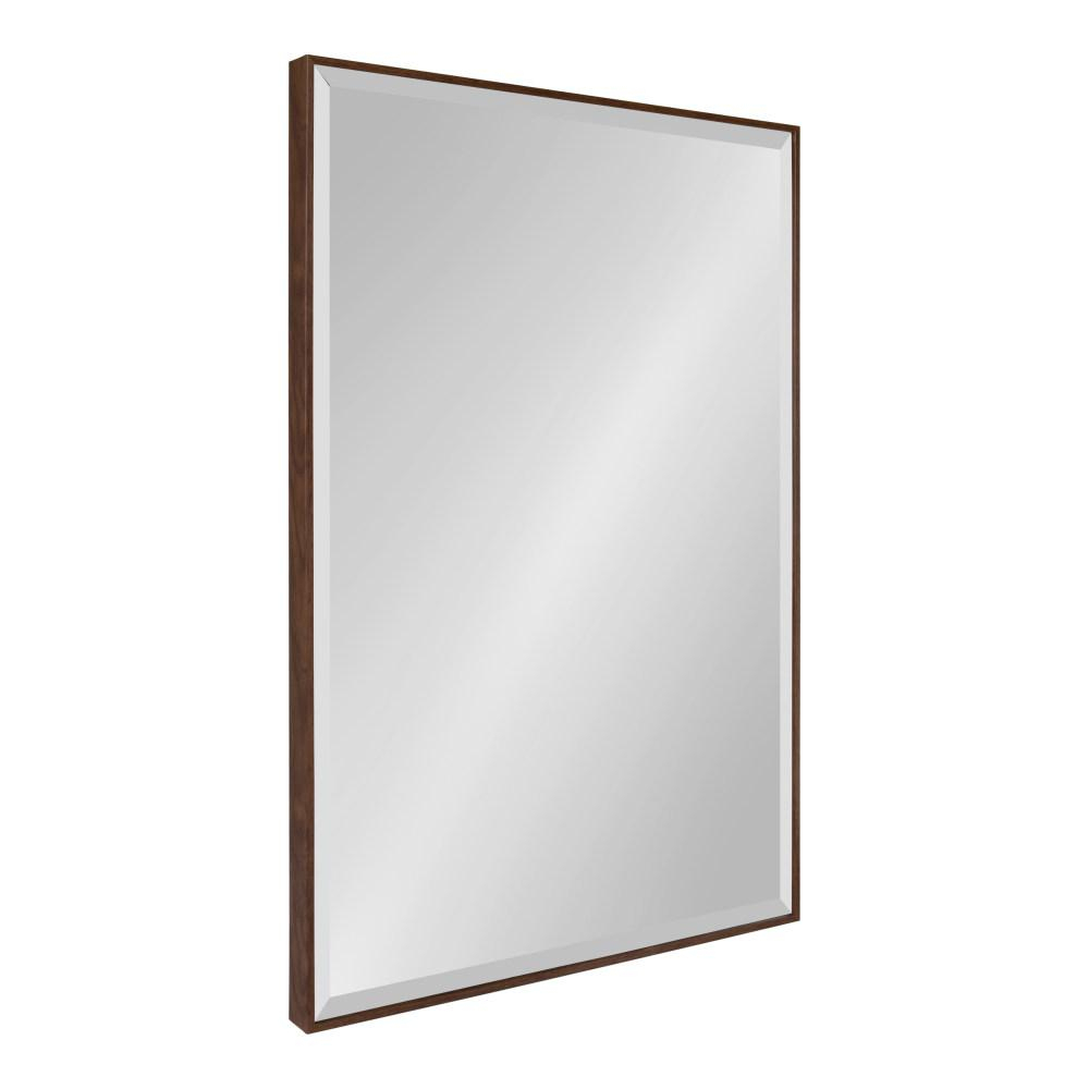 Kate And Laurel Rhodes Rectangle Walnut Brown Plastic Wall Inside Rectangle Plastic Beveled Wall Mirrors (View 3 of 20)