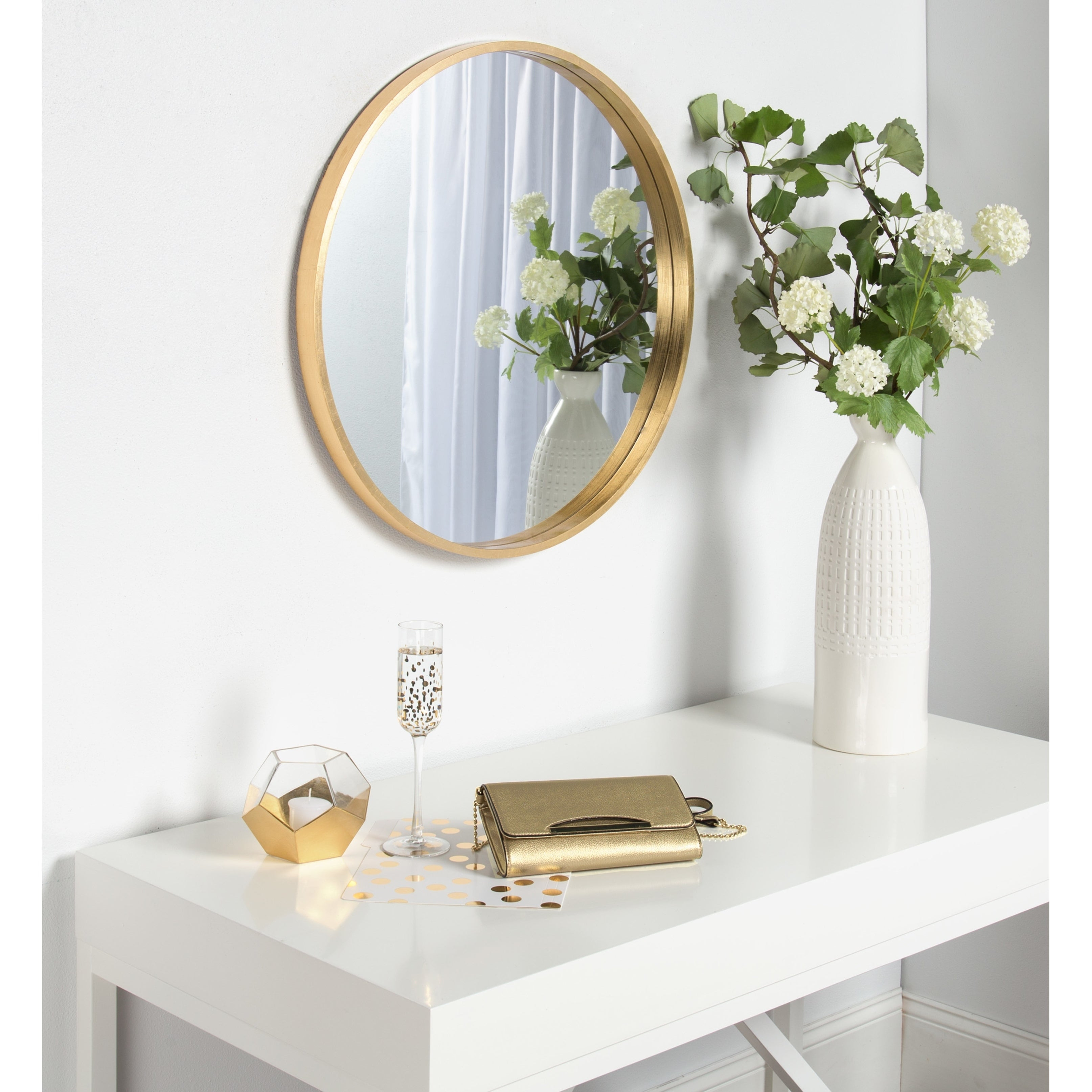 Kate And Laurel Travis Round Wood Accent Wall Mirror,  (Image 17 of 20)