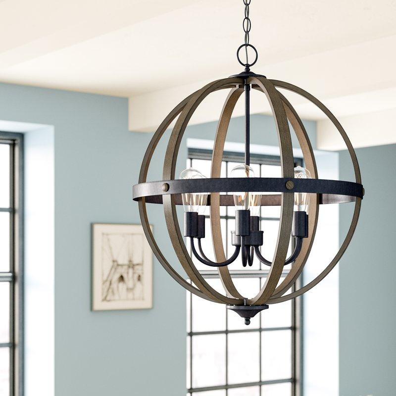 Kathrina 6 Light Globe Chandelier Pertaining To Donna 4 Light Globe Chandeliers (Image 15 of 20)