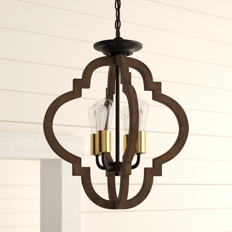 Kaycee 4 Light Geometric Chandelier With Hendry 4 Light Globe Chandeliers (Image 11 of 20)