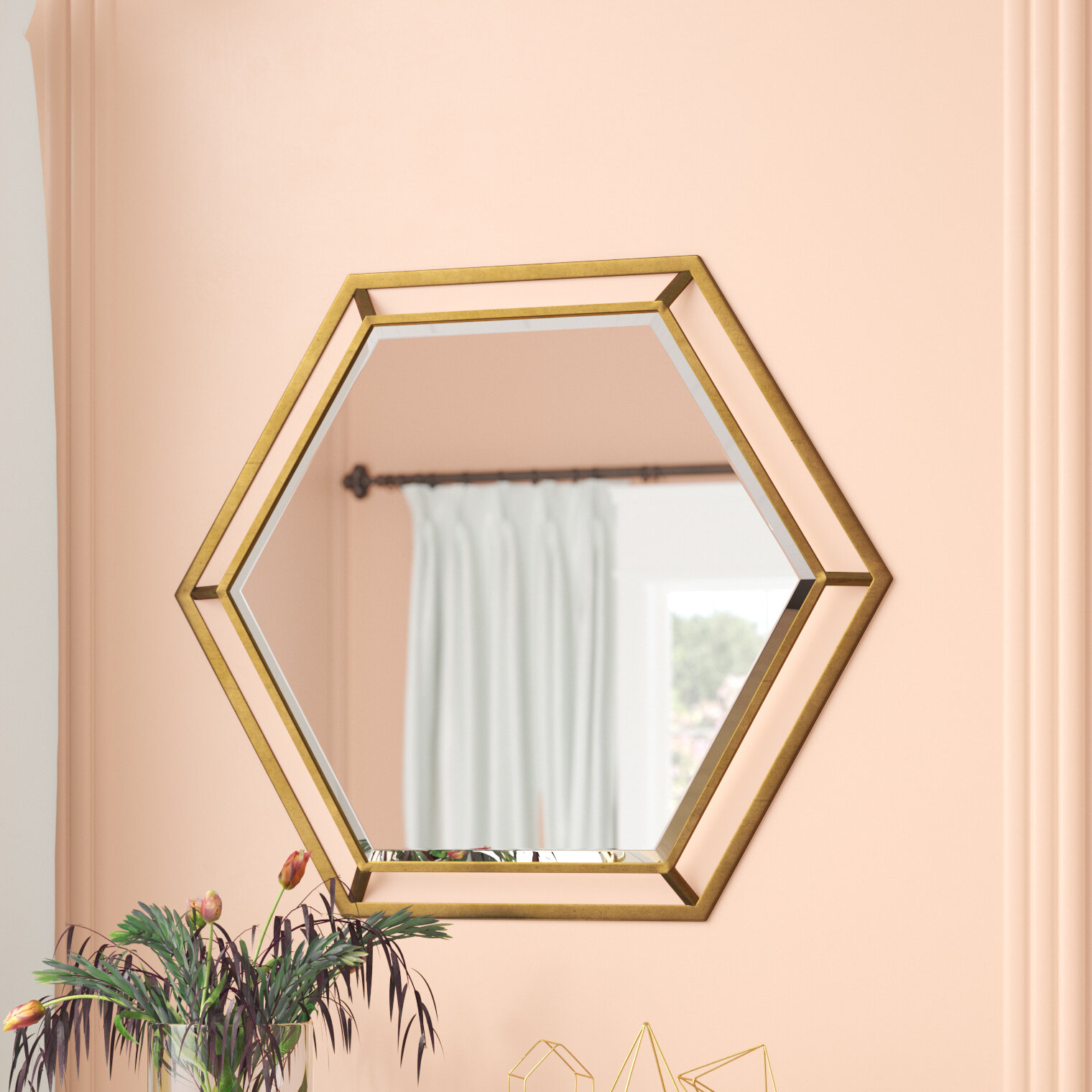Kelston Mills Modern & Contemporary Beveled Accent Mirror With Regard To Gia Hexagon Accent Mirrors (Image 15 of 20)