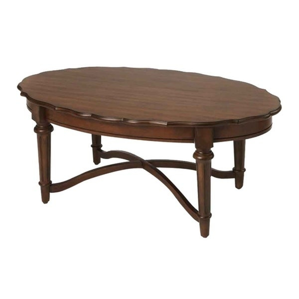 Kendrick Cocoa Distressed Solid Mahogany Wood Oval Coffee Table Inside Winslet Cherry Finish Wood Oval Coffee Tables With Casters (View 12 of 25)