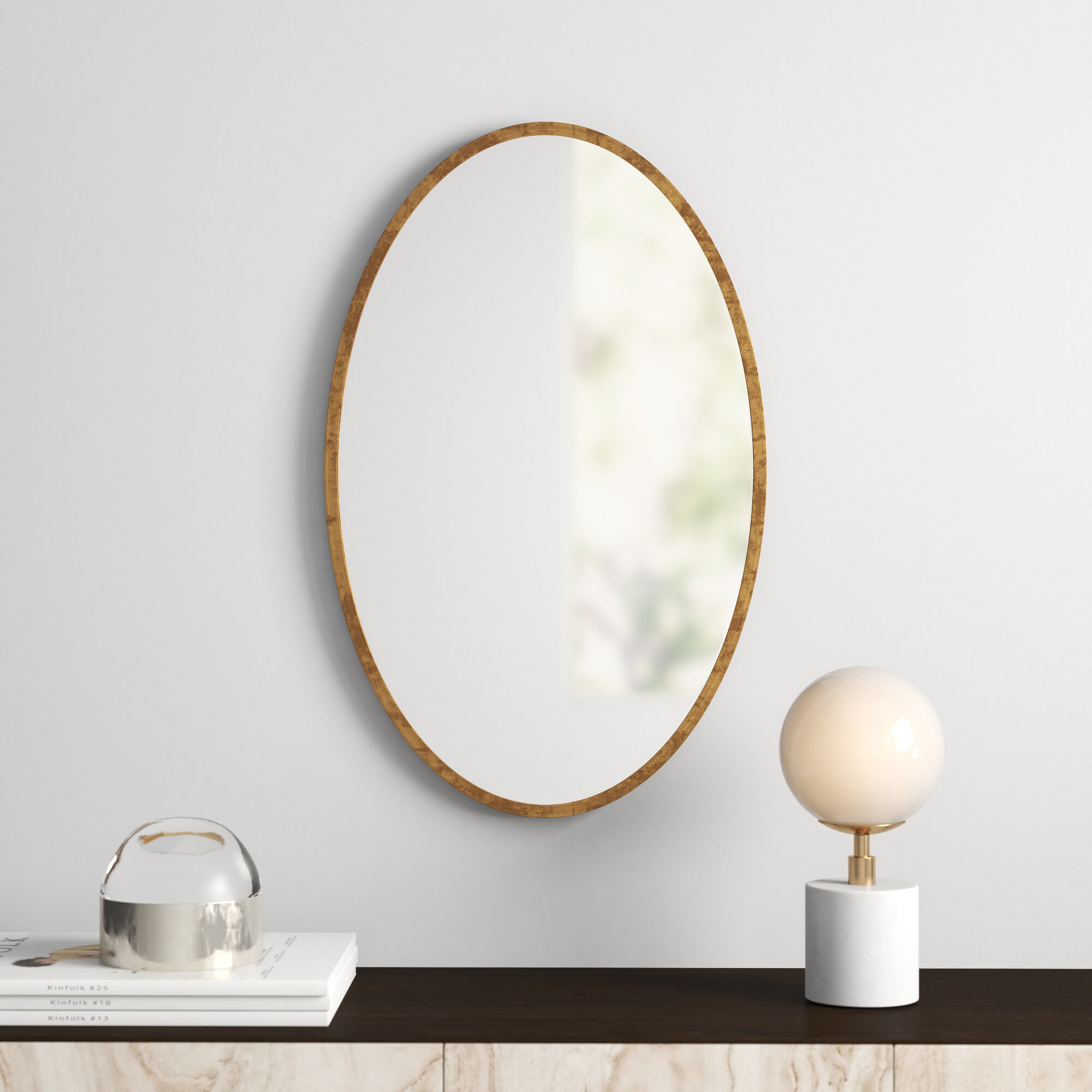 Kennedy Gold Oval Accent Mirror With Regard To Matthias Round Accent Mirrors (Image 7 of 20)