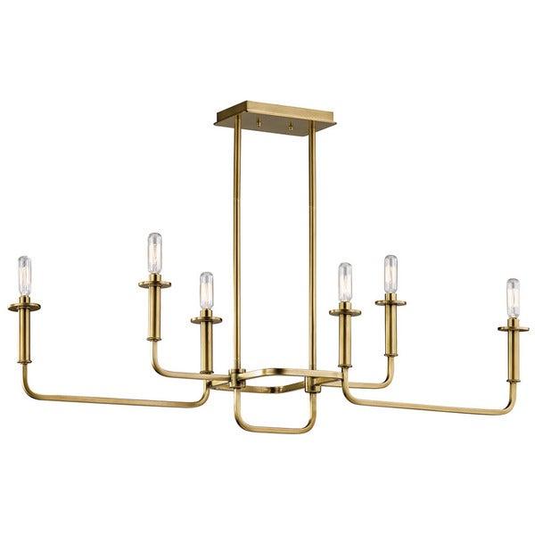 Kichler Lighting Alden Collection 6 Light Natural Brass Linear Chandelier Intended For Alden 6 Light Globe Chandeliers (View 13 of 20)