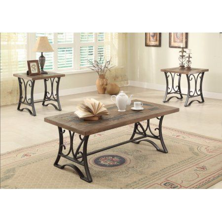 Kiele Coffee/end Table Set, Oak & Antique Black, Pack Of 3 Pertaining To Gracewood Hollow Salinger Prentice Cocktail Tables (View 15 of 25)