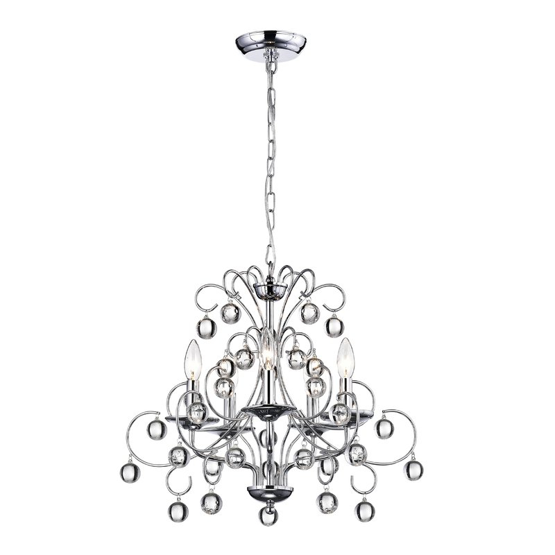 Kimberley 5 Light Candle Style Chandelier For Oriana 4 Light Single Geometric Chandeliers (View 14 of 25)