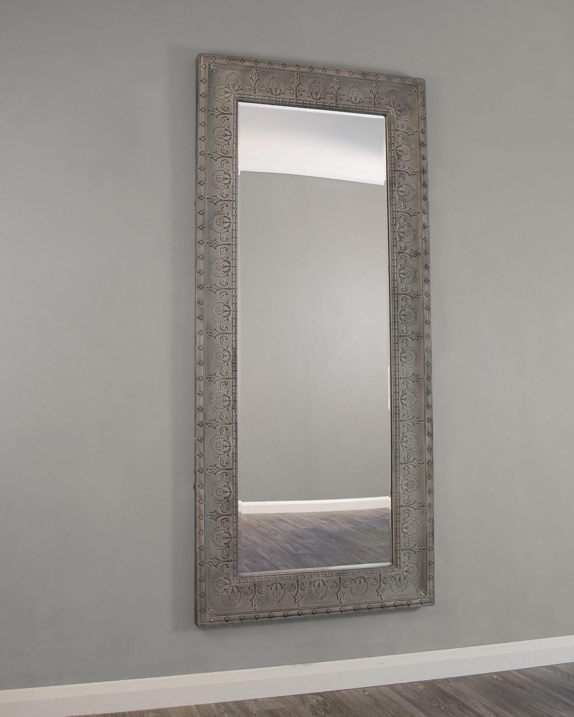 Kirkham – Mirrors, Kirkham Large Grey Embossed Metal Framed Regarding Janie Rectangular Wall Mirrors (Image 7 of 20)