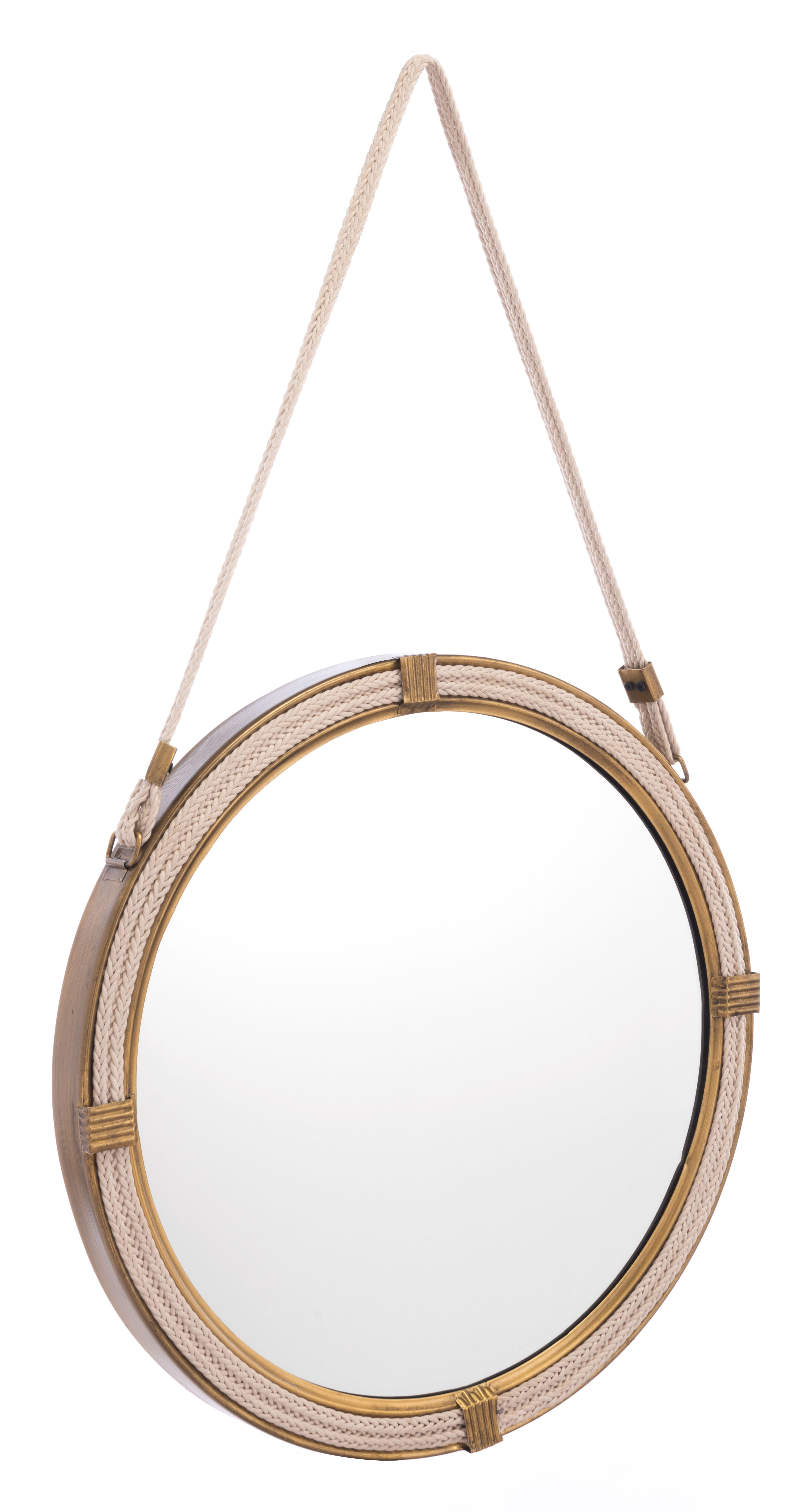 Knot Steel Round Hanging Mirror, Brass Finish | Products For Mcnary Accent Mirrors (View 14 of 20)