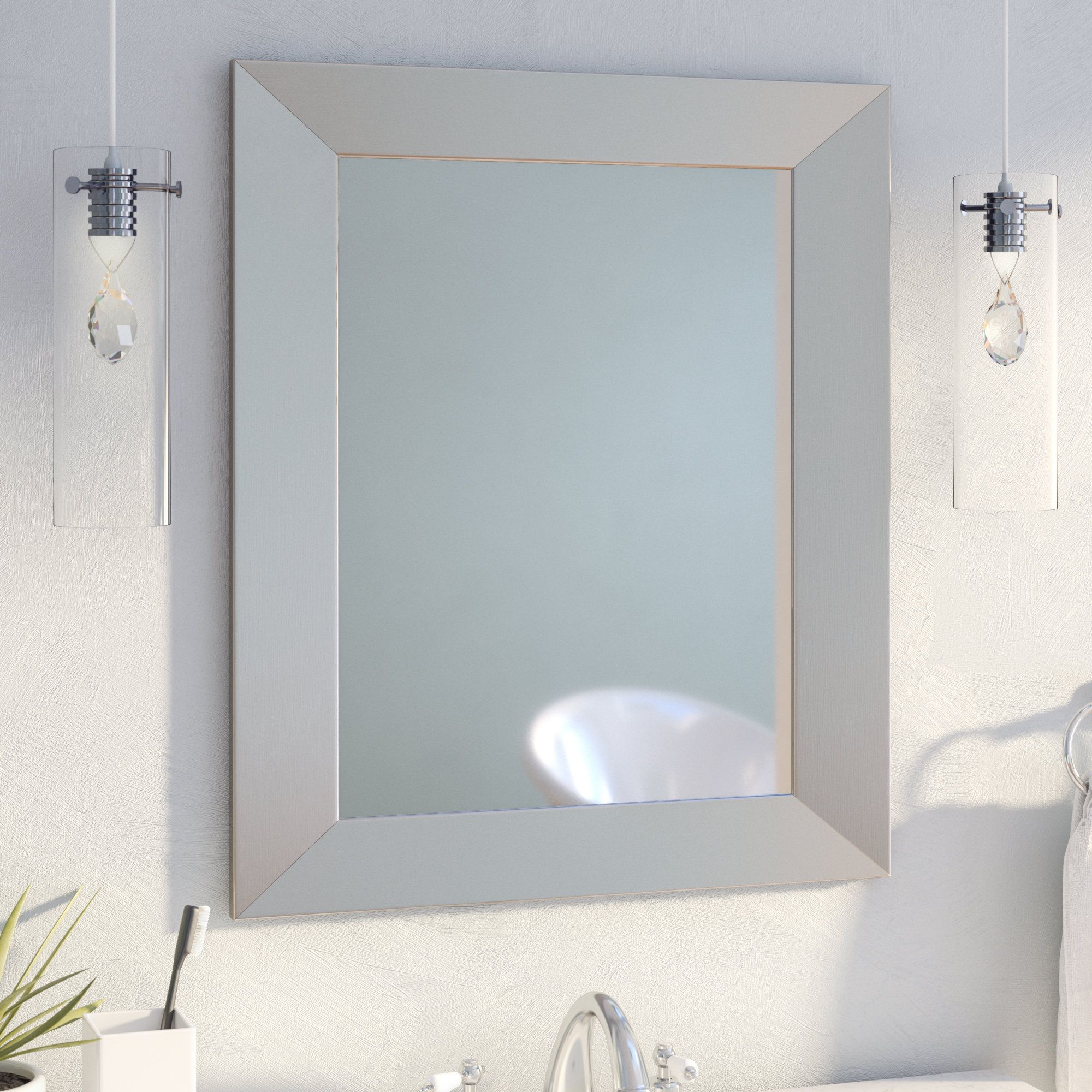 Kurt Bathroom/vanity Mirror | Products | Espejos De Pared With Hogge Modern Brushed Nickel Large Frame Wall Mirrors (Image 10 of 20)
