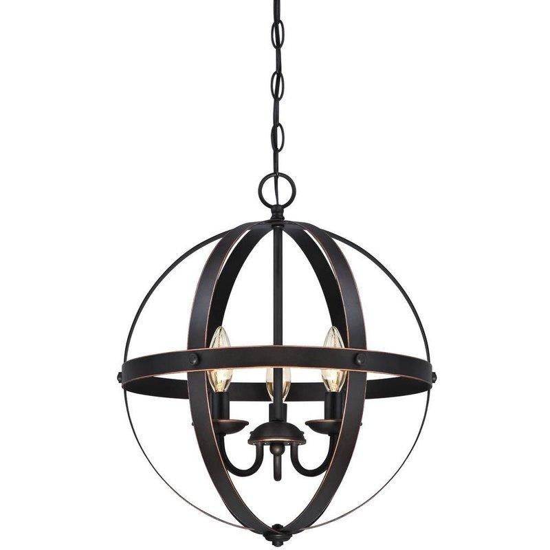 La Barge 3 Light Globe Chandelier Pertaining To Adcock 3 Light Single Globe Pendants (Image 17 of 25)