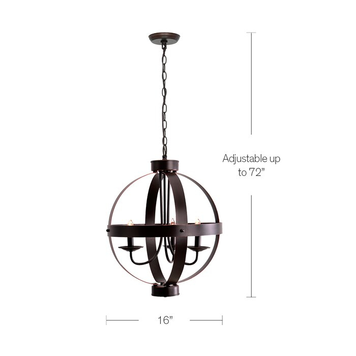 La Sarre 3 Light Globe Chandelier In La Sarre 3 Light Globe Chandeliers (View 3 of 20)