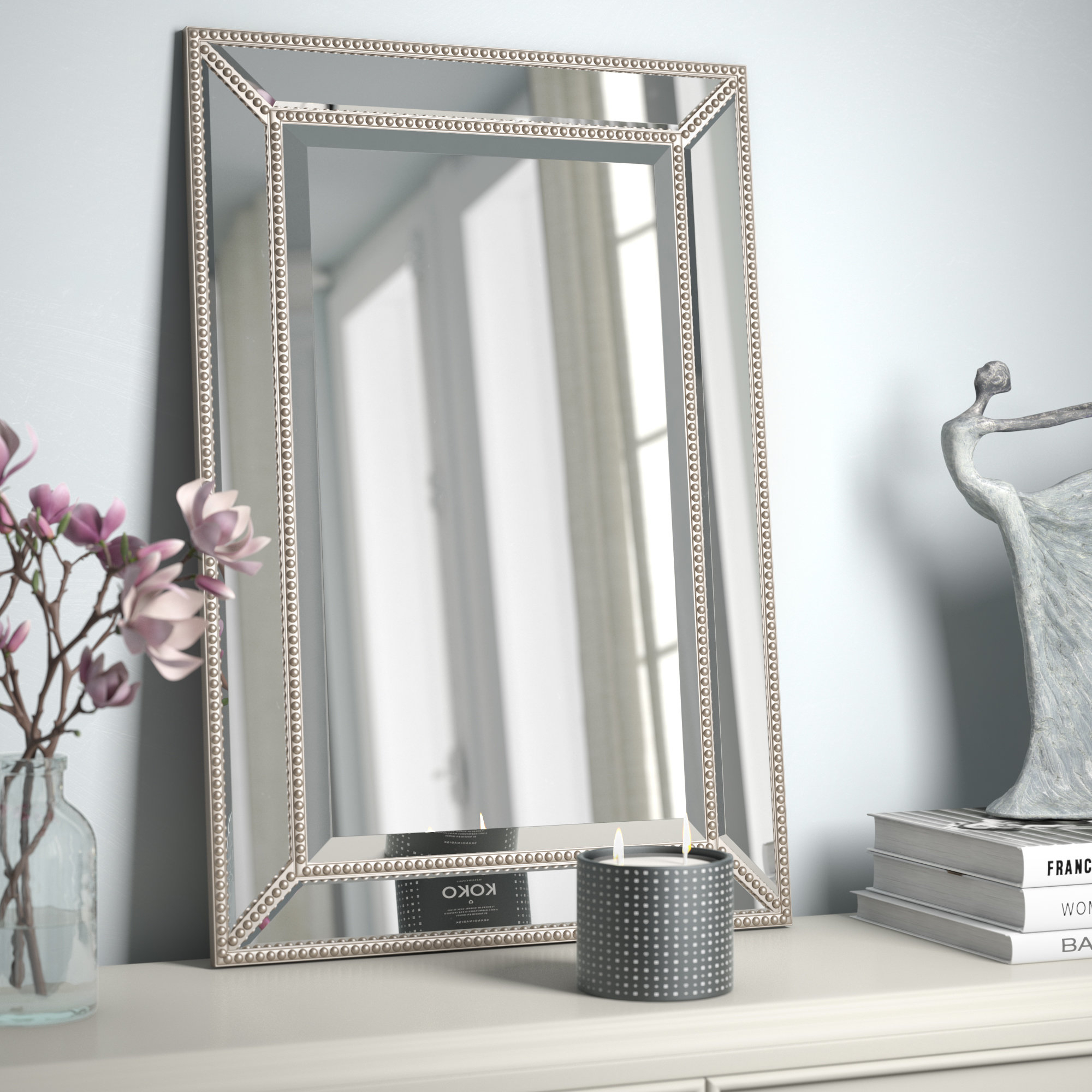 Lake Park Beveled Beaded Accent Wall Mirror Within Rectangle Pewter Beveled Wall Mirrors (Image 13 of 20)