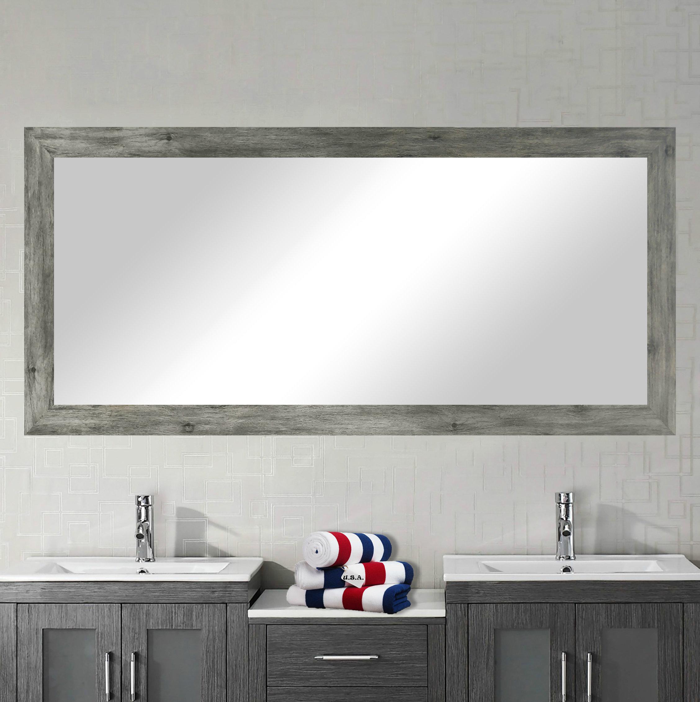 Landover Rustic Distressed Bathroom/vanity Mirror Regarding Longwood Rustic Beveled Accent Mirrors (View 17 of 20)