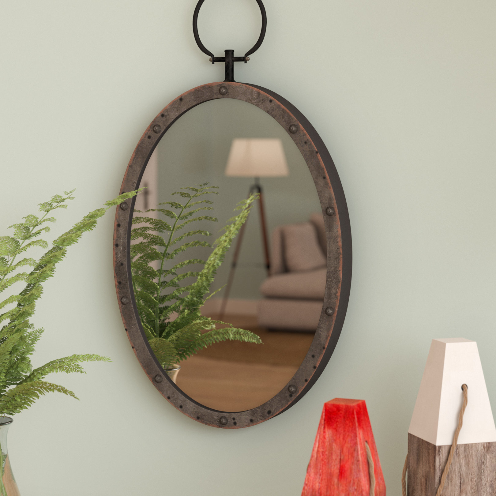Lanford Oval Metal Accent Mirror Within Oval Metallic Accent Mirrors (View 6 of 20)