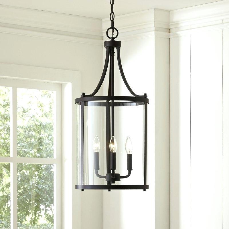 Lantern Ceiling Light Black Style Chain Hanging Ceiling Throughout Farrier 3 Light Lantern Drum Pendants (Image 21 of 25)
