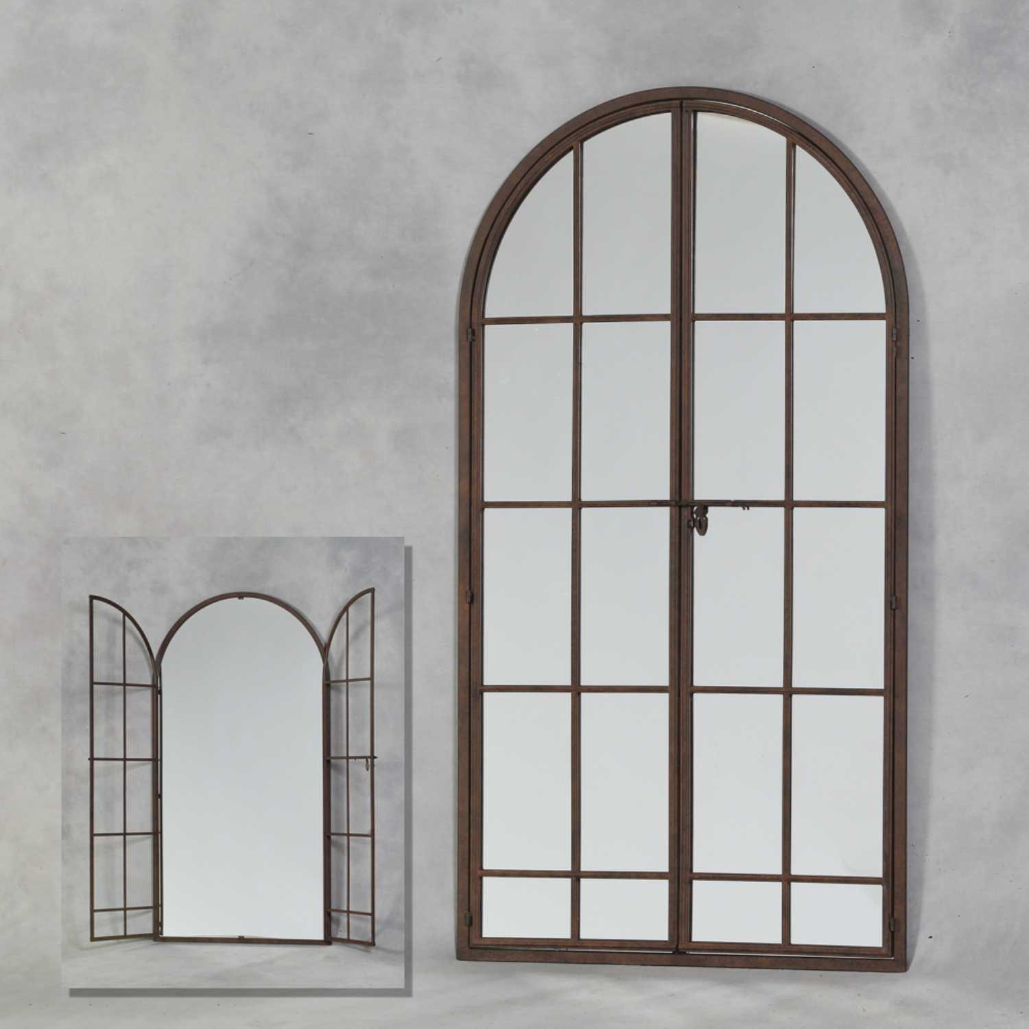 Large Arched Metal Opening Window Wall Mirror Antiqued Iron Frame Within Metal Arch Window Wall Mirrors (Image 12 of 20)