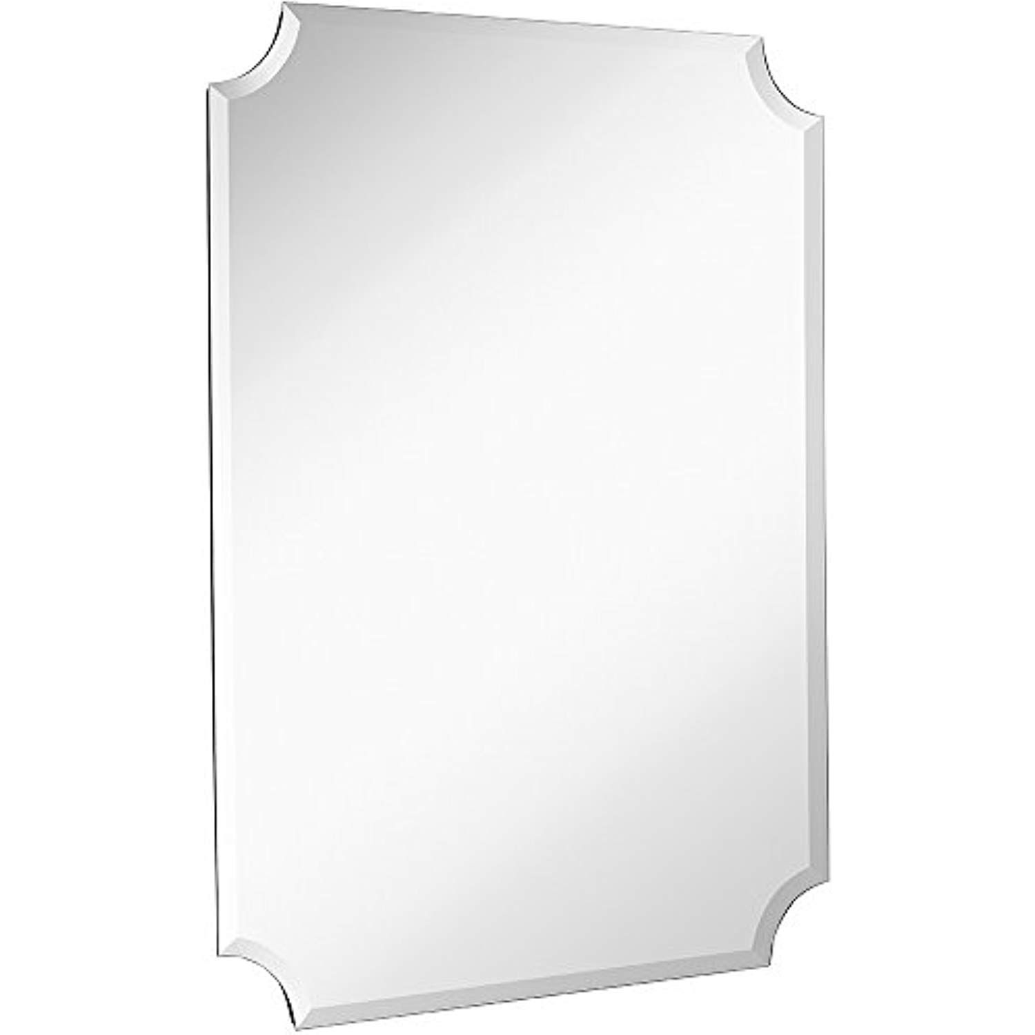 Large Beveled Scalloped Edge Rectangular Wall Mirror | 1 Regarding Dariel Tall Arched Scalloped Wall Mirrors (Image 11 of 20)