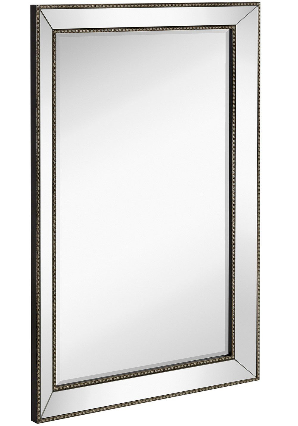 Large Framed Wall Mirror With Angled Beveled Mirror Frame Intended For Silver Frame Accent Mirrors (View 9 of 20)