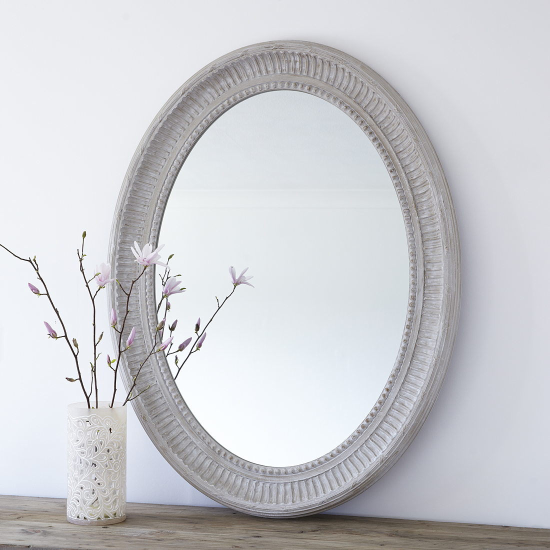 Large Grey Oval Wooden Wall Mirror Throughout Oval Wood Wall Mirrors (View 4 of 20)