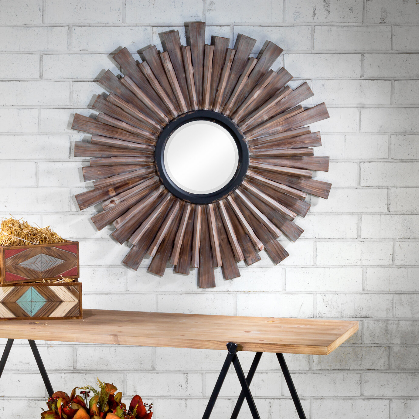"Large & Oversized (Over 32"" High) Sunburst Mirrors You'll For Diamondville Modern & Contemporary Distressed Accent Mirrors (Image 10 of 20)"